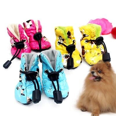 Pet Dog Non-slip Rain Socks Loose Waterproof Shoes Puppy Drawstring Boots 4Pcs