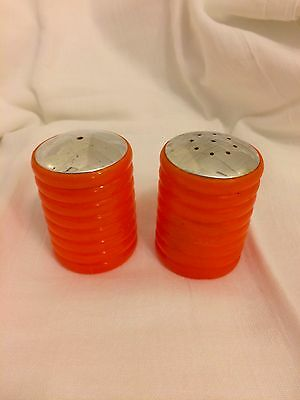 Vintage Orange Plastic Salt & Pepper Shakers Mod Hippie