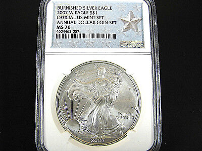 2007 W Burnished Silver American Eagle Annual Dollar Set NGC Ms 70  Star Label