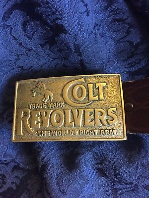 "Vtg 70's Colt Revolvers Brass Belt Buckle""Thd World's Right Arm"" W/ Belt"