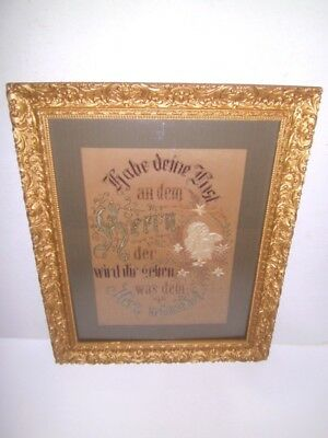 Mid 1800's Needlepoint Textile German Motto Angel Gorgeous gold gilt frame