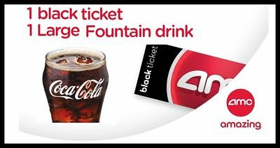 One Black Movie Ticket and 1 Large Drink at AMC Theaters Theatres Theater Tix &