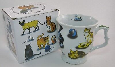 Paul Cardew Cat Tea footed cup Coffee Mug 11 oz Cats - CatTea DISCONTINUED - NIB