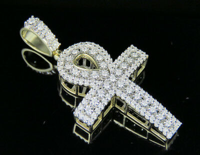 10K Yellow Gold Genuine Diamond Egyptian Ankh Dome Cross Pendant 4/5 Ct 1.75""