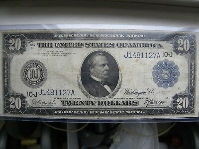 1914 large  federal reserve twenty dollar bill