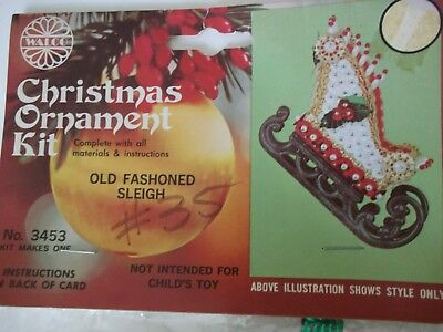 Vintage Walco 1977 OLD FASHIONED SLEIGH Christmas Ornament Craft Kit Sequins NOS