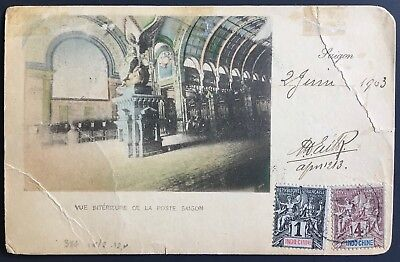 PC French Indochina 1903 Saigon Post Office interior to Belgium and returned