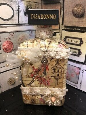 Vintage Shabby Chic Up Cycled Bottle Birds Pearls & Lace