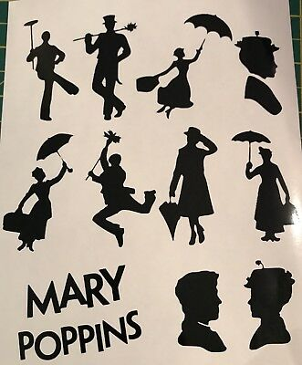 Mary Poppins Glass Craft Etched Vinyl Sticker Silhouette Disney Decal Car Bundle