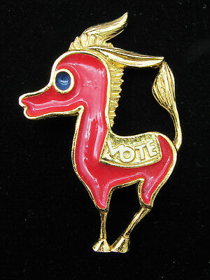 "Vintage Democrat Democratic ""Vote"" Donkey Pinback Brooch - Red and Gold"