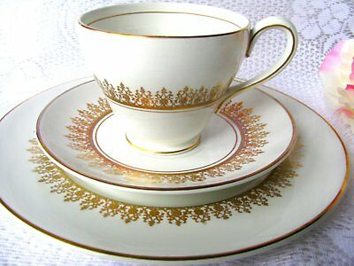 Myott Tiffany Teacup Trio White and Gold Teacup and Saucer and Luncheon Plate