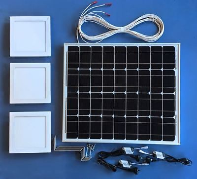Solar Powered LED Shaftless Skylight Kit, Square 225mm Remote Switch, DIY