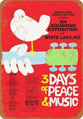 "7"" x 10"" Metal Sign - Woodstock - Vintage Look Repro"