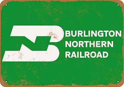 "7"" x 10"" Metal Sign - Burlington Northern Railroad - Vintage Look Repro"