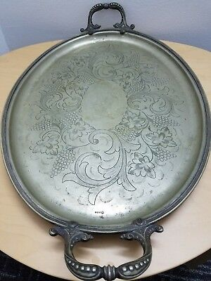 Antique Rare Large Tray Birmingham Silver Electroplate 18th Century