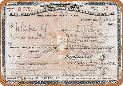 "7"" x 10"" Metal Sign - 1924 Prescription for Whiskey During Prohibition - Vintage"