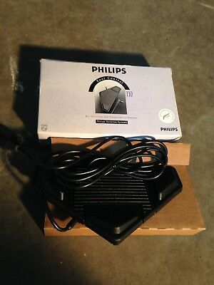 Vintage Philips 110 Transcription Dictation Foot Control Pedal Black, unused