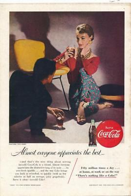 Vintage Magazine Ad - 1955 - Coca Cola - Lady sitting by yellow chair