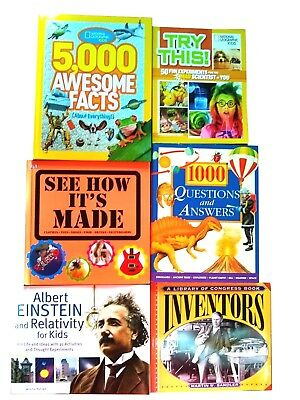 6 Books National Geographic Kids Einstein Inventors See How It's Made 1000 Q&A