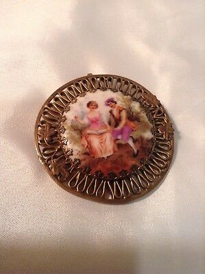 Antique Hand Painted Victorian Pin/Pendant of Courting Couple Gold Plate Border