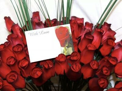 Wholesale Valentines Flowers 50 Romantic Red Wooden Roses Mixed Box Gift Grasses