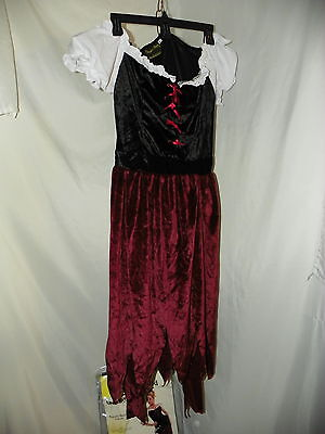 Halloween Pirate Wench Womens Adult Large Sexy Dress Costume Lace Bodice Scarf