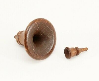 """Cuckoo Clock Horn and Mouthpiece Wood Case Hardware 1 3/8"""" 35 mm Brown Germany"""