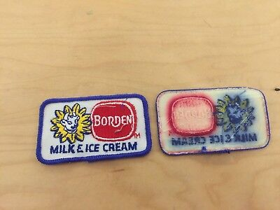 """bordens dairy,elsie the cow  vintage patch,""""milk and ice cream"""" 1970's, not"""