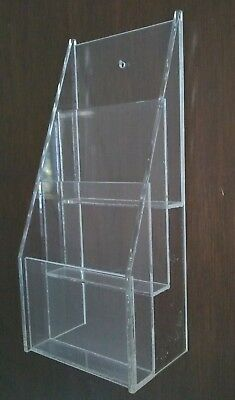 Clear Lucite 3 Tier Brochure Holder Wall Mount 10x4.5
