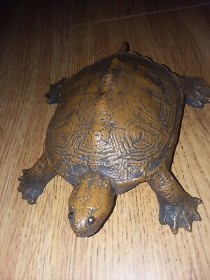 Vintage Wilton Cast Iron Water Turtle Doorstop RARE