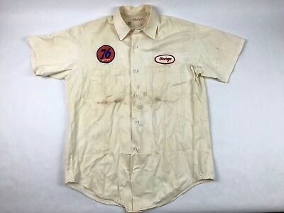 Vintage Union 76 Gas Station 'George' Off White Work Shirt Rare Retro Hipster
