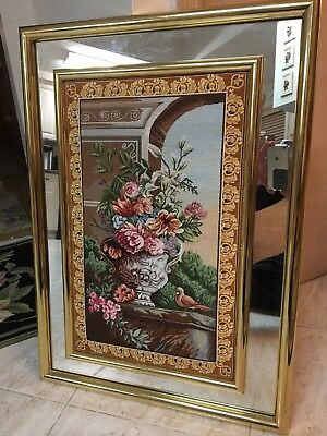 Large Hand Made Floral Petit Point Framed With Modern Frame/Mirror