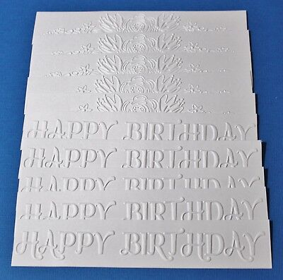 10 x White Embossed Cardstock Borders Happy Birthday & Flower Spray Card Making