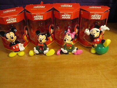 Enesco Disney Mickey and Minnie Mouse Holiday Christmas Ornaments Set of 4