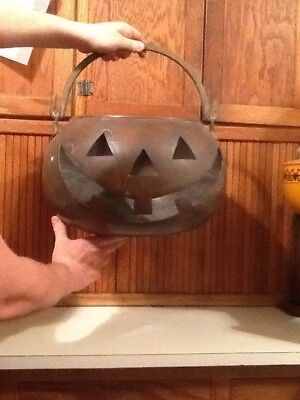 Large Vintage Copper Brass Halloween Pumpkin Jack-O-Lantern with Free Shipping!!
