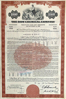The Dow Chemical Company > $1,000 bond certificate