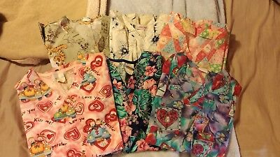 Lot Of 8 Pieces Women's Scrub Tops And Pants Size Small Pre-Owned
