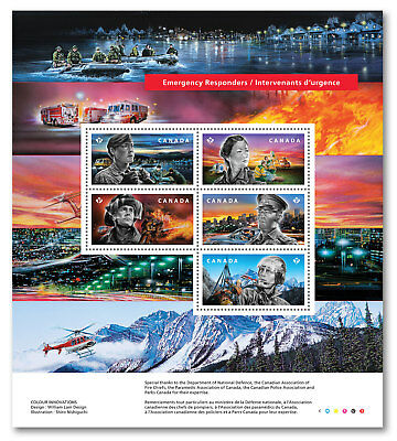 2018 Canada Emergency Responders Full Pane 5 Stamps Police Fire Army Sc # 3123