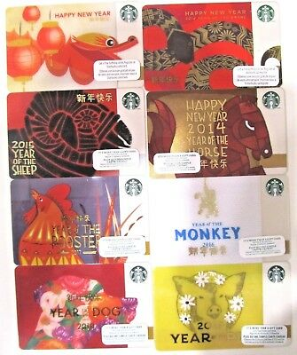Starbucks Lot 8 Chinese New Year Gift Cards New Unused Unloaded 2011-2019 Canada