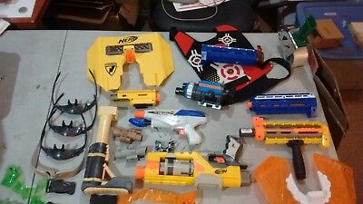 LH514 NERF Accessory lot Shields Scopes barrels stock vest blaster glasses AS-IS