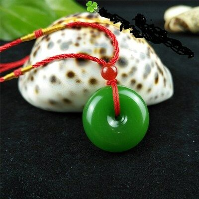 Fashion Natural Jade Buckle Necklace Pendant Chinese Hand-Carved Lucky  Amulet 2b139b005e41