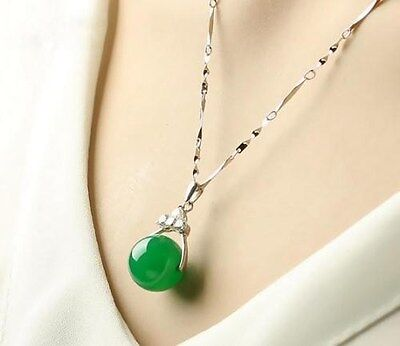 100% Natural Hand-carved Chinese green round bead Jade pendant Silver carving