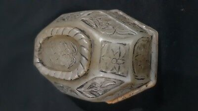 Antique engraved  Mughal Nephrite Jade bowl Qing dynasty 18th century