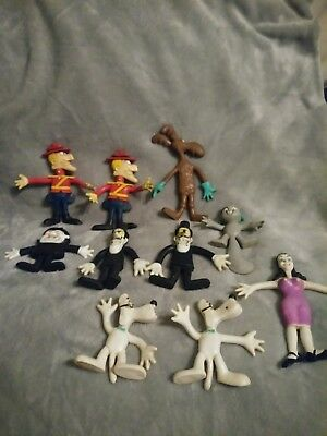 Vintage Rocky Bullwinkle Dudley rubber bendable figures 1972 Wham-O see 10pcs