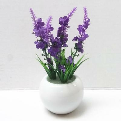 Fake Artificial Flower Ceramic Pots Office Home Decors Flowers Bonsai Purple
