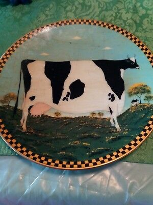 "LENOX Warren Kimble Barnyard Animals Decorative Plate - ""HOLSTEIN COW"" 1994"