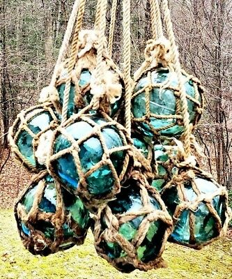 """Authentic Vintage Netted Asian/Japanese Glass Fishing Floats 3.5"""" (LOT OF 9)"""
