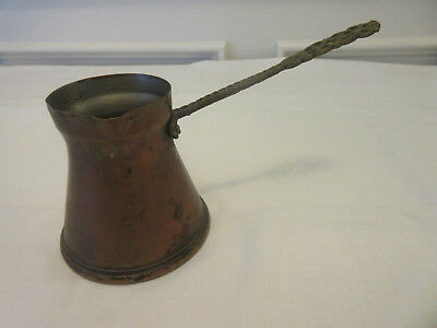 ANTIQUE SMALL COPPER POT WITH LONG BRASS HANDLE -- MADE IN GERMANY -- 1900s