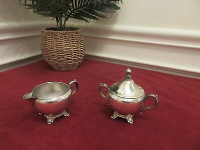 VINTAGE SILVER CREAMER & SUGAR BOWL -- Wm A ROGER BY ONEIDA LTD SILVERSMITHS