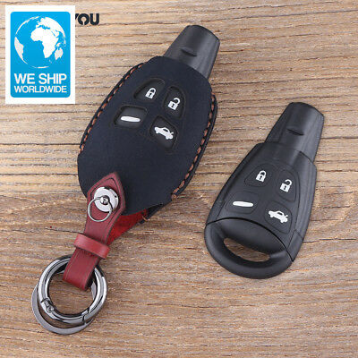 KEYYOU 4 Button Key Fob Shell Case For SAAB 9-3 93 2003-2009 Leather Key Cover K
